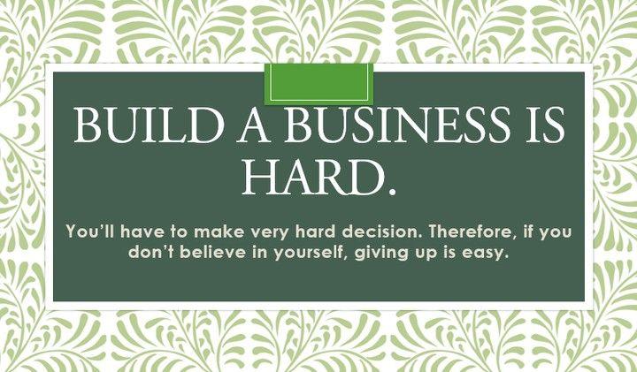 """Membangun bisnis itu tidak mudah. Terjkadang anda harus mengambil keputusan yang berat sebelum memulainya. Jika anda tidak dapat percaya pada diri anda sendiri untuk menjalankan bisnis maka """"MENYERAH"""" adalah jalan termudah yang dapat anda ambil.  #quote #instapicture #instajob #business #ilovemyjob #quoteoftheday #instadaily #instamood #instagood #picoftheday #photooftheday #successbefore30 #chandraputranegara"""
