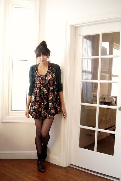 Floral dress cardigan hipster boots look