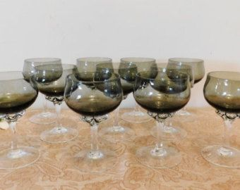 "6 Sasaki Coronation Smoked Crystal Liquor Glasses, Set of 6 - 4 1/4"" glasses, Twisted Stems, Made in Japan, 1960"