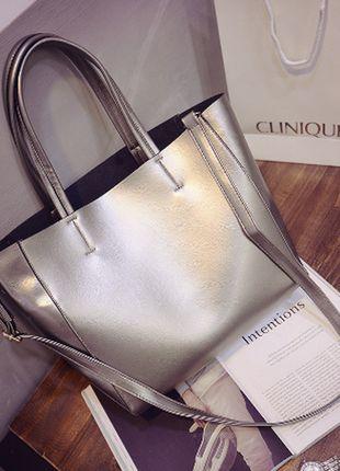 Шикарная большая сумка-шоппер, металлик+ за+690+грн.