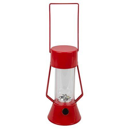 LED Outdoor Metal Lantern Red. Classic looking metal lantern with 15 LED lights provides the perfect ambiance to your outdoor activity. This battery powered lantern is weather resistant and will stand up to the elements. 4 AA batteries included, dimmer switch to adjust brightness and light enough to travel to any location. Maximum Light Bulb Wattage: 0.8 watts LED  Run Time: 200 hours.
