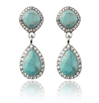 NEW YORK KISS DROP EARRINGS - TURQUOISE