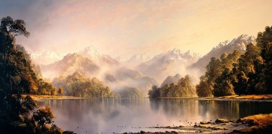 Tim Wilson, Autumn Haze Lake Te Anau New Zealand. Oil on Berge Linen. 75cm x 150cm (Private collection, New Zealand).