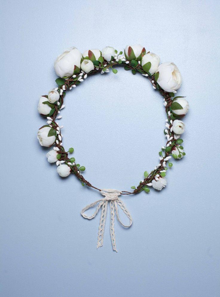 Couronne mariage rétro fleurs ivoire Naomi - English Garden