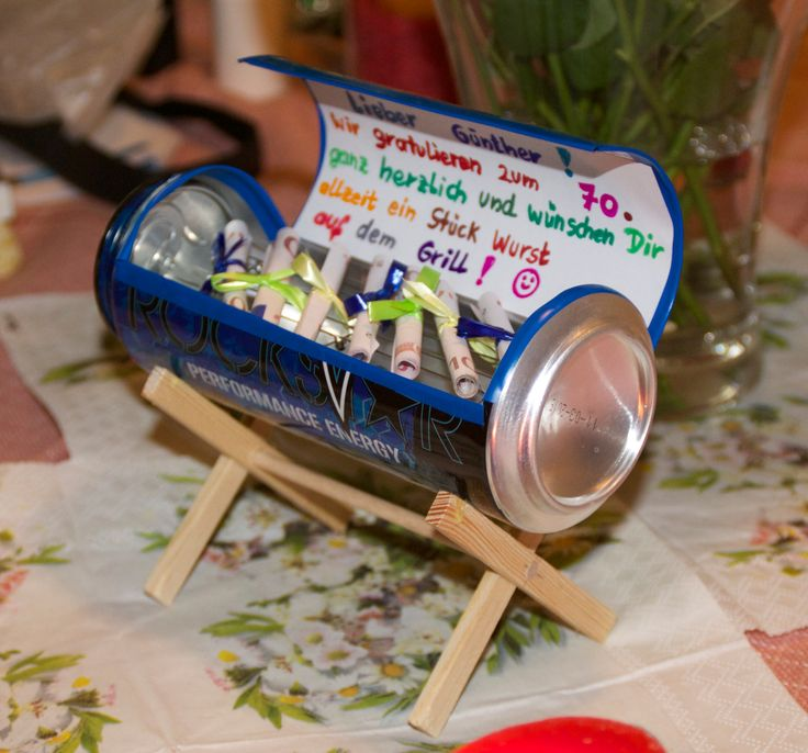 Craft a tiny grill from a beer can. Great use for gifts of money
