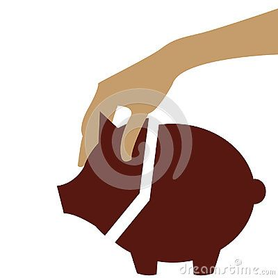 Human hand holds the Piggy bank on white background vector illustration