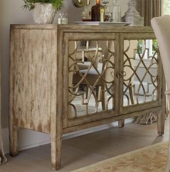 Light Oak Mirrored Art Deco Credenza Sideboard