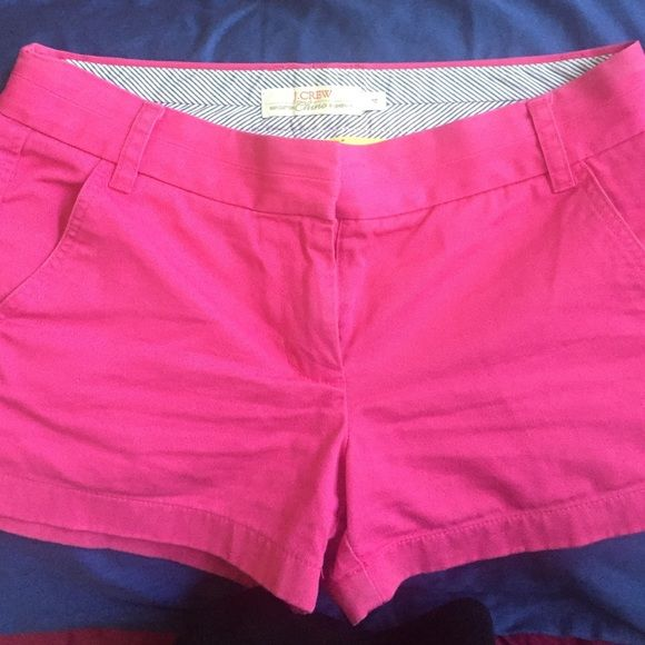 "J.Crew 3"" Chino Hot Pink shorts Size four gently worn hot pink chinos perfect for any preppy summer outfit! J. Crew Shorts Skorts"