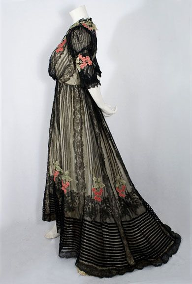 Chantilly Lace and Tulle Gown, ca. 1905