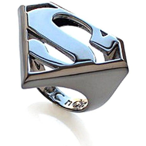 nOir Superman DC Comics Logo Statement Ring featuring polyvore, fashion, jewelry, rings, accessories, superhero, gunmetal, cocktail rings, 18k ring, long rings, 18 karat gold ring and 18k jewelry