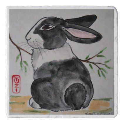 Dutch Rabbit Marble Stone Trivet Oriental Style - marble gifts style stylish nature unique personalize