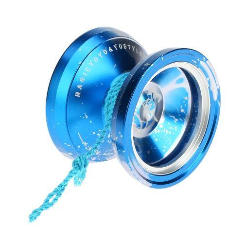 Professional Magic Yoyo M002 Aluminum Alloy Yo-yo CNC lathe Stainless Center Bearing with Spinning String for Boys Girls Children Kids Blue & Silver