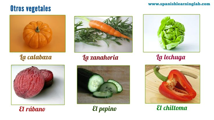 This picture shows a few more vegetables in Spanish... You can use to use the word VERDURA instead of VEGETAL sometimes... There are many more vegetables... Check the main lesson to read and listen to conversations of people buying fruits and vegetables at the market in Spanish. :)