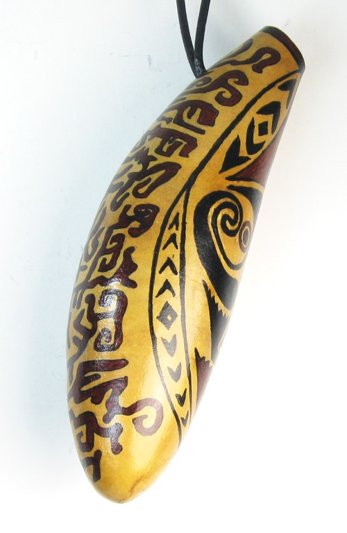 "Maori Tribal Hanging Gourd Vase    Delightfully different hanging gourd vase inspired by Maori Tribal Ancestral Spirit Guide designs.  Fill with sprigs of dried flowers and you have a unique accessory to decorate your wall.    All gourd vases pictured are one-of-a-kind, hand-painted, and 8"" x 3"" in diameter, not including leather cord hanger which is 4"" in length."