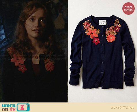 Emma's navy cardigan with orange floral applique on Bates Motel.  Outfit Details: http://wornontv.net/30341/ #BatesMotel