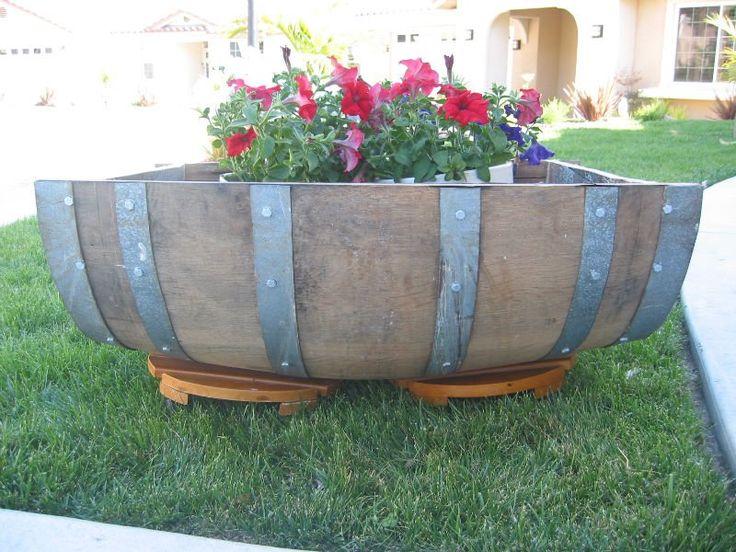 40 best images about wine barrel planters on for Diy wine barrel planter