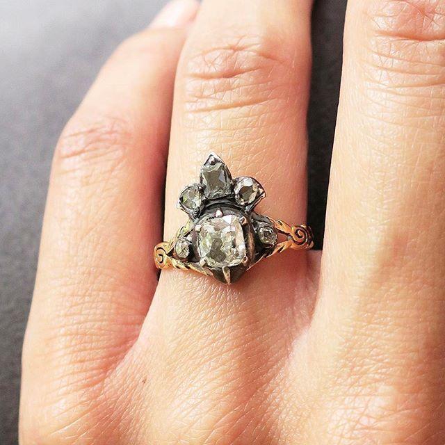 Antique Georgian Crowned Heart Diamond Ring #vintage #jewelry