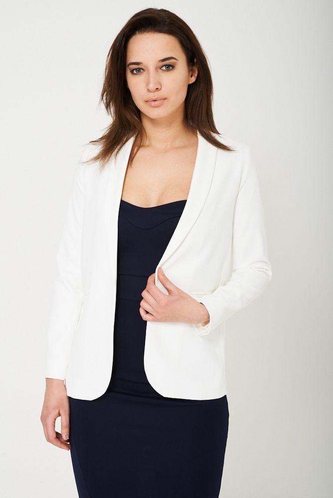Womens Cream Ivory Tailored Open Front Blazer Jacket Coat Sizes UK 4 6 8 10 12