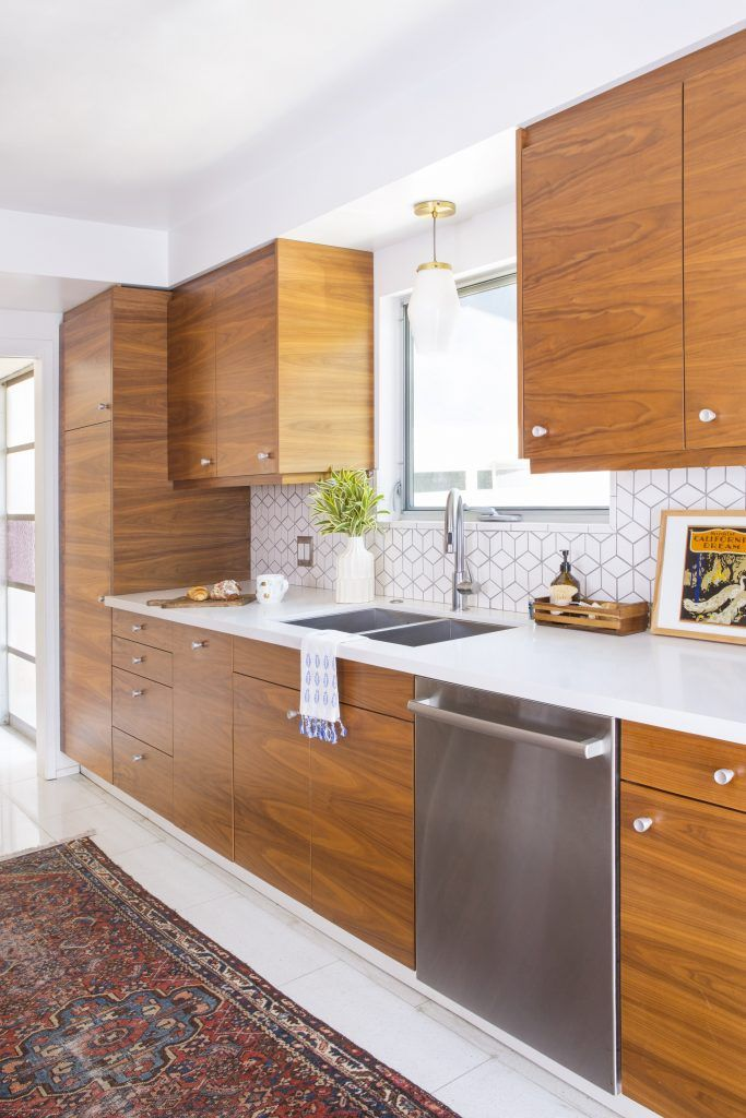 Ikea Cabinets With Walnut Finish Fronts From Semihandmade Modern Kitchen Remodel Mid Century Modern Kitchen Mid Century Modern Kitchen Cabinets