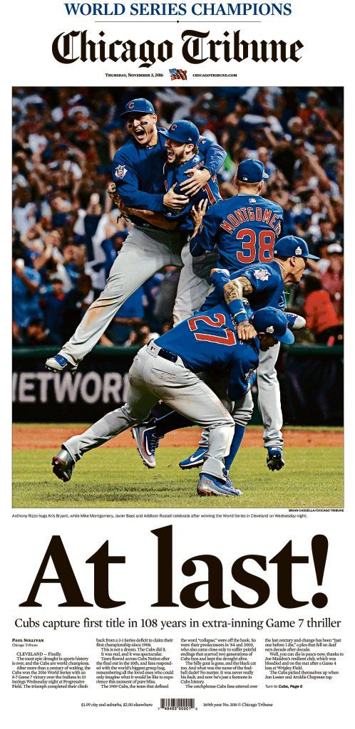 The Chicago Cubs are 2016 World Series Champions. At last. Break the Curse. Fly the W.