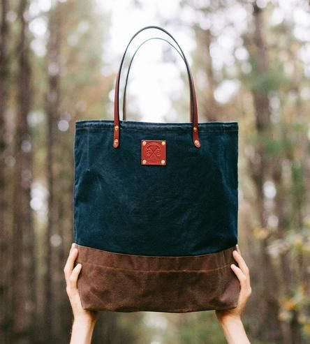 Gorgeous waxed canvas and leather tote bag from Sturdy Brothers - Shoppe by Scoutmob