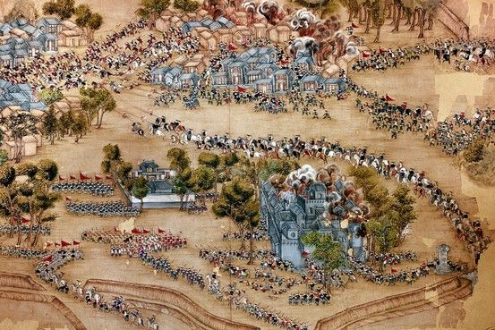 Painting of Chinese government forces attacking a Taiping stronghold at Tientsin (now Tianjin) in northern China in the 1860s