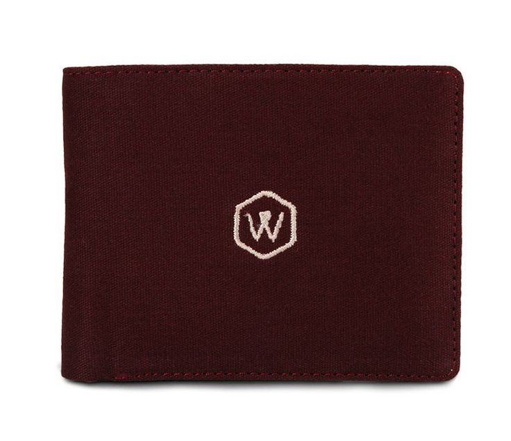 Midst Wallet by Warning Clothing. Maroon wallet with a bi fold style, cash compartment, id card slots, this wallet made from canvas with W logo embroidery in front, perfect for everyday use, a simple wallet tat look so  cool.  http://www.zocko.com/z/JIil3
