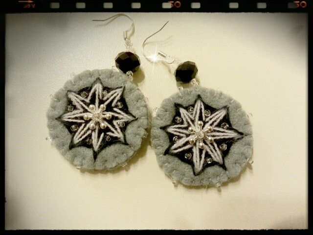 Felt grey earrings self made