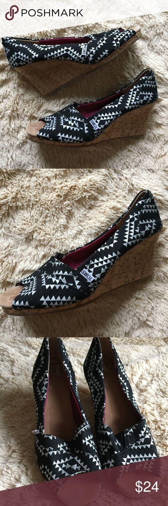 New Listing! Toms Wedge Heels Toms patterned wedge heels. Never worn, NWOT! Very comfortable and stylish. TOMS Shoes Wedges