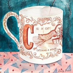 Emily Sutton: Watercolor: Victorian Crockery 'C is for Cat'