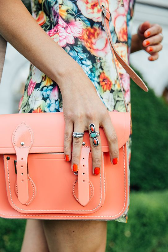 bright floral dress with coral summer accessories and nails #spring #summer #style