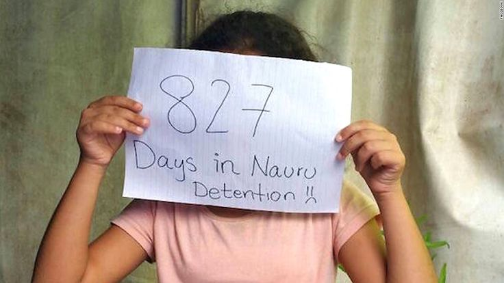 "An image on the Facebook site <a href=""https://www.facebook.com/Free-the-Children-NAURU-839867502797443/?fref=nf"" target=""_blank"">""Free the Children NAURU,""</a> uploaded in November, 2015, shows a small child with a tally of how many days she's been in detention on the small Pacific island."