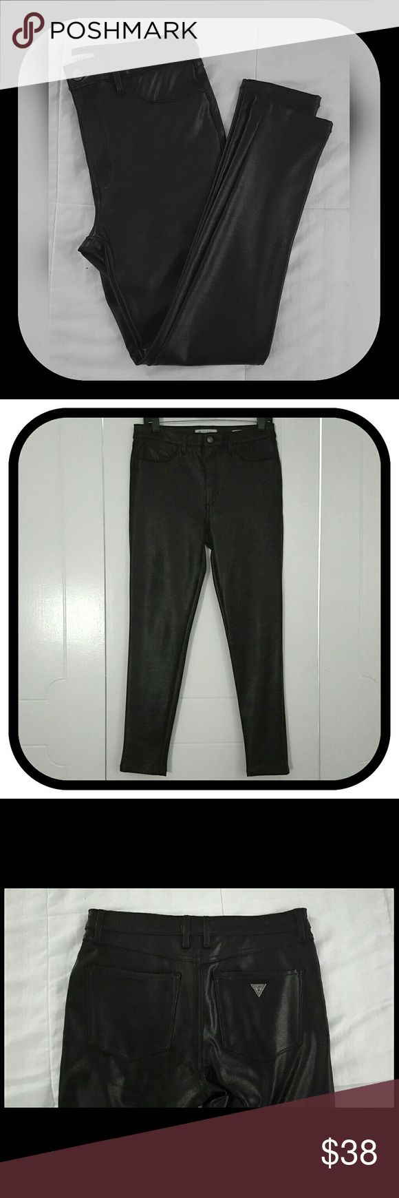 Men's Guess Marciano Pleather Skinny Pants These pants are immaculate. Never worn but without tags. Made by Guess. Size 30 in men's but would easily first a woman size 28 to 30. These pants are very soft and well made. The fabrication feels substantial. Inside is soft knit. These pants have a great stretch. Tapered legs. Faux pockets in front, full back pockets. Silver Guess logo on back pocket. Guess by Marciano Pants