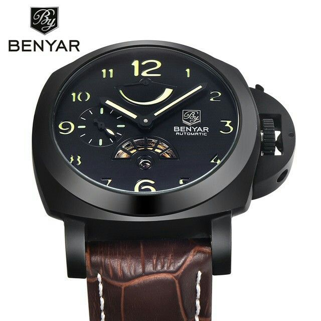 Reloj Hombre BENYAR Men's Waterproof Business Mechanical Wristwatch Genuine Leather Full Steel Fashion Casual Sport Watches Men