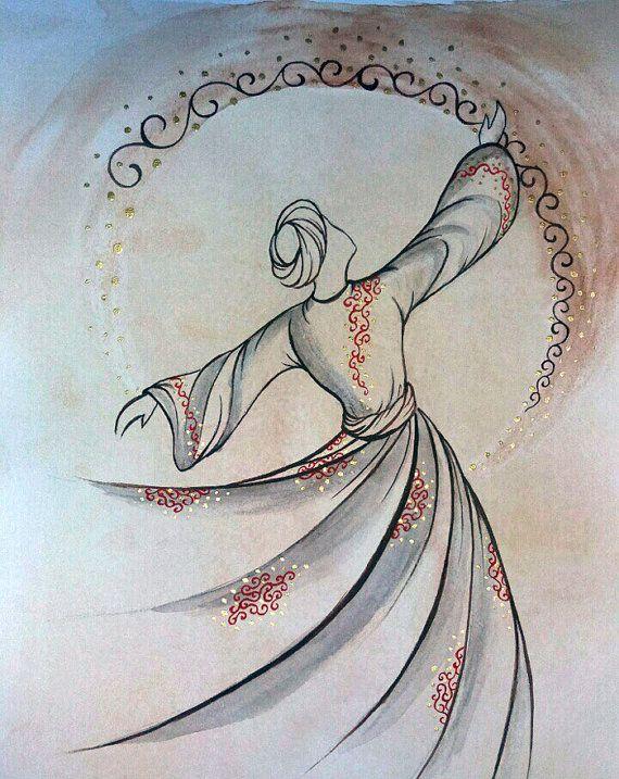 Original Painting Whirling Dervish Sufi Dance Rumi Miniature