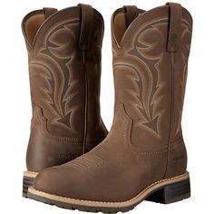 Ariat Hybrid Rancher H2O (Distressed Brown) Cowboy Boots ($170) ❤ liked on Polyvore featuring men's fashion, men's shoes, men's boots, men's work boots, extra wide mens boots, mens brown work boots, mens waterproof boots, mens brown boots and mens wide work boots