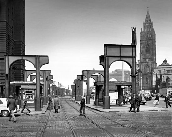 Dismantled overhead railway Liver buildings on the left, circa late 1950s
