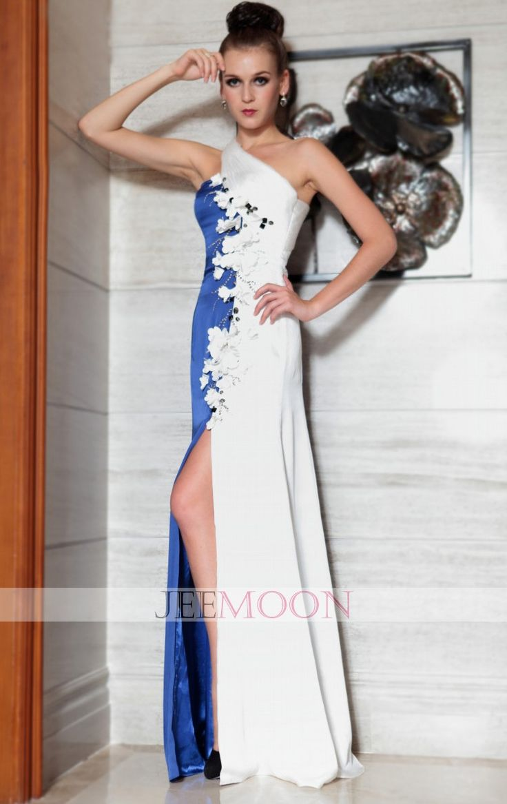 Floor-length Sheath/Column One Shoulder Multi-color Satin Formal/Evening Dress - Jeemoon.com