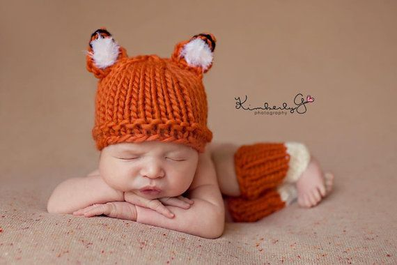 Newborn Fox hat  Newborn knitted hat newborn by EllieBellieProps, $45.00