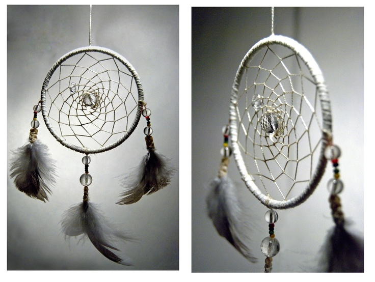 Dreamcatcher made with grouse feathers from the north of Norway, quartz and small beads with the colours of the sami flag.  www.malinpettersen.com