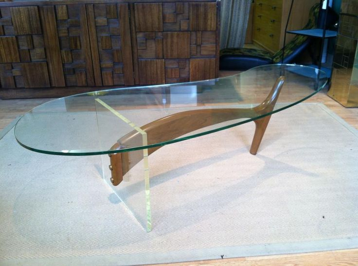 Walnut, Lucite And Glass Kidney Shaped Coffee Table At Mad Modern