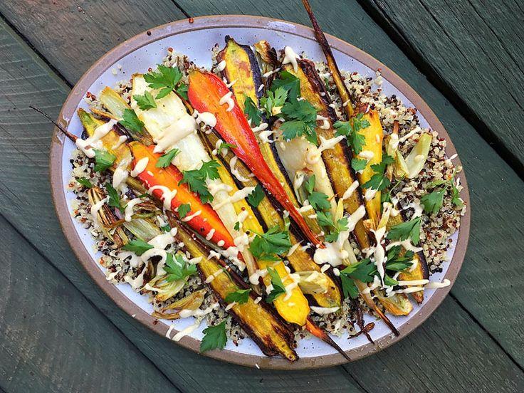 Roasted Rainbow Carrots & Fennel with Quinoa and Tahini #recipe #glutenfree #vegan #healthy