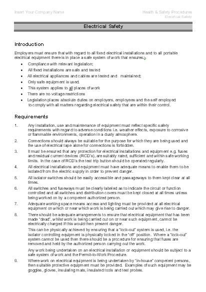 Health and Safety Procedures - Sample Page 1