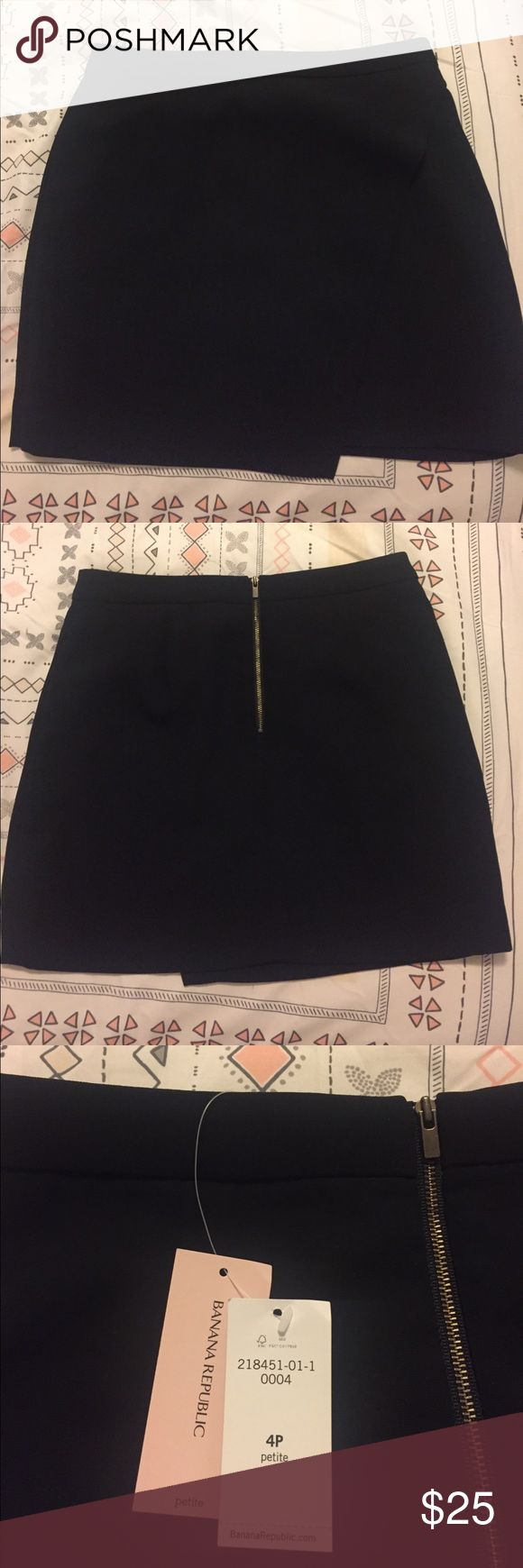 Banana Republic Petite black wrap skirt Brand new with tags! Black mini skirt that zips up in the back, cute wrap around style. Size 4P (petite) from Banana Republic's petite collection. Too small for me sadly so I'm selling. Tag Michael Kors, Marc jacobs, Nine West, coach, Rebecca minkoff, Brandy Melville, Nordstrom BP Banana Republic Skirts Mini