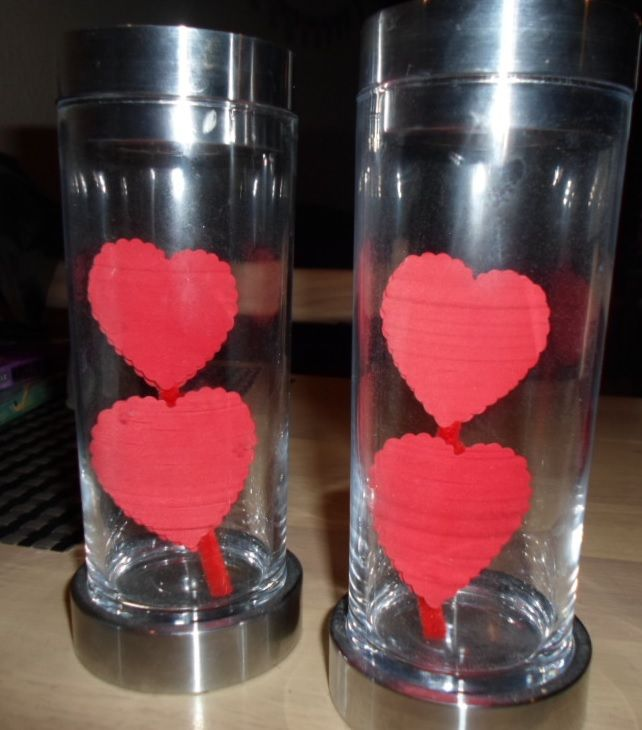 Candlesticks decorated with hearts.