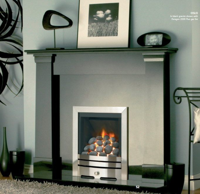 White Fireplace With Black Granite Part - 37: Black Granite Fireplace