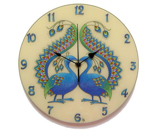 Peacock Silent Wall Clock, Original Paiting Wall Clock, Blue Home Decor, Unique, Glass Paiting Wall Clock, Peacock Decor
