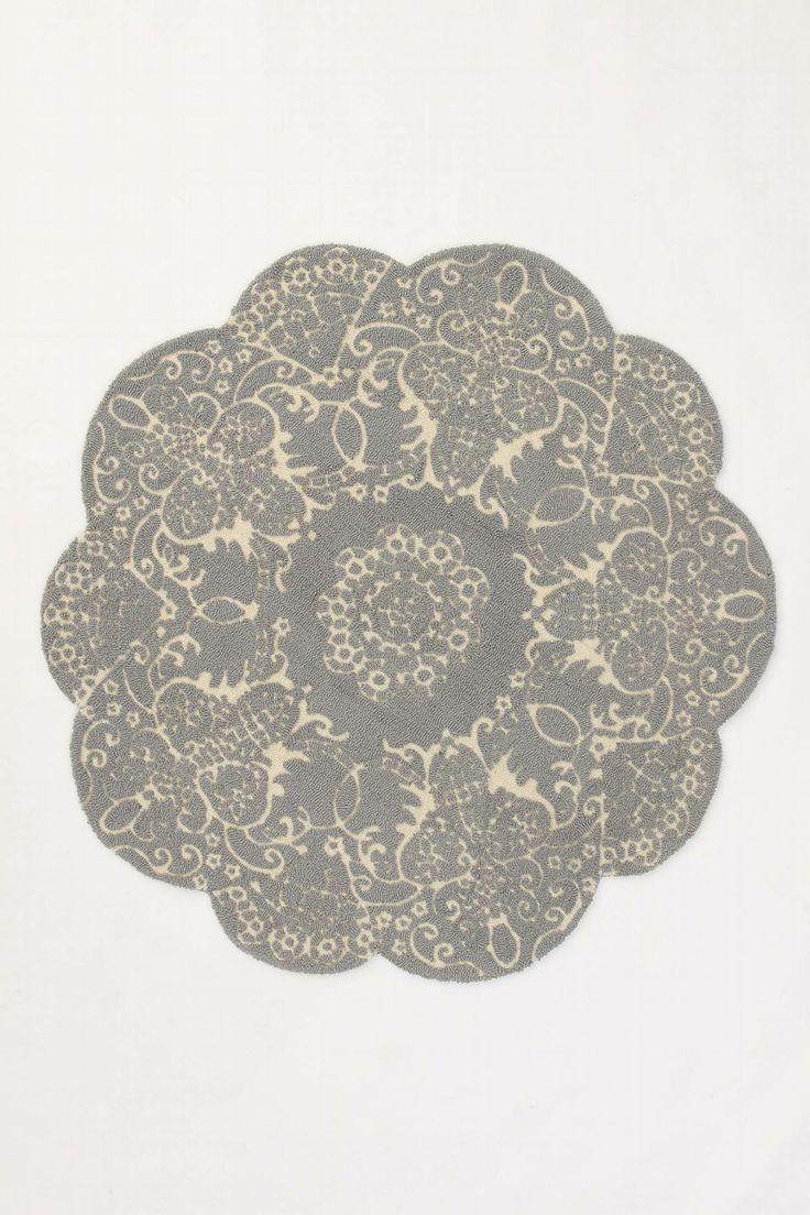 Anthropologie 5' round wool rug. $298: Round Rugs, Living Rooms, Doilies Rugs, Anthropology, Kitchens Tables, Bedrooms, House, Grey Rugs