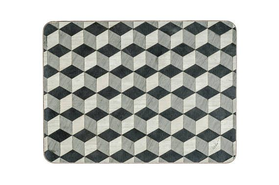 Set 8 Grey Placemats and 8 Coasters Geometric Place Mats Art