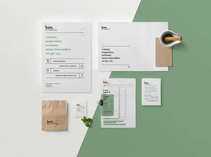 Branding project for Bee, a bar and vegan restaurant in Lugano, Switzerland.